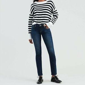 Levis Mid Rise Skinny Jeans Dark Wash Stretch Y2K Western